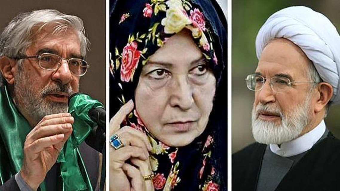 مهدي كروبي ومير حسين موسوي وزوجته زهراء رهنورد