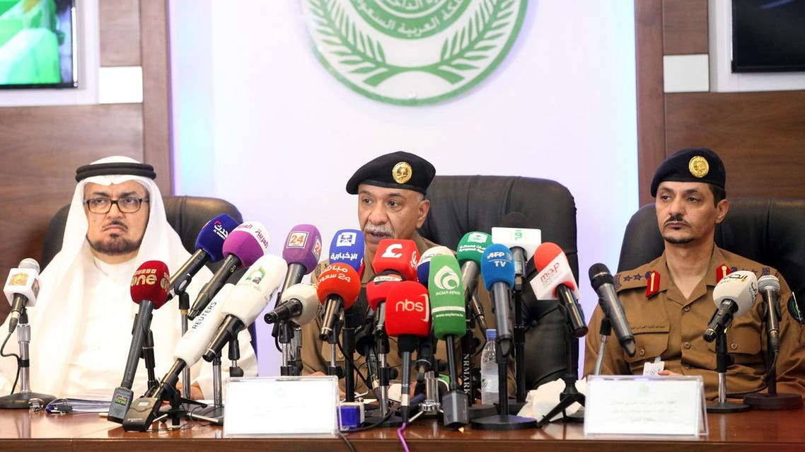 Saudi Interior Ministry's spokesman Mansur al-Turki (C) speaks during a press conference in Mina near the holy city of Mecca on August 29, 2017. (AFP)