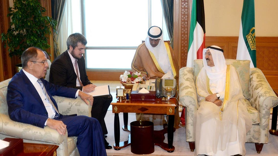 A handout photo provided by the Kuwaiti news agency KUNA on August 28, 2017 shows the Emir of Kuwait Sheikh Sabah Al-Ahmad Al-Jaber Al-Sabah (R) meeting with the Russian Foreign Minister Sergey Lavrov (L) in Kuwait City. (AFP)