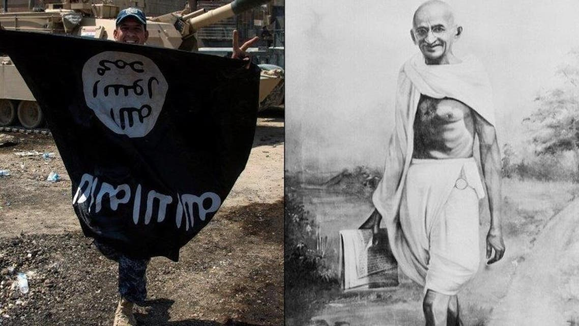 Paradoxically, the most gifted exponent of political branding in the 20th century was the plainly unassuming Mahatma Gandhi. ISIS flag is seen on the left. (AP/AFP)