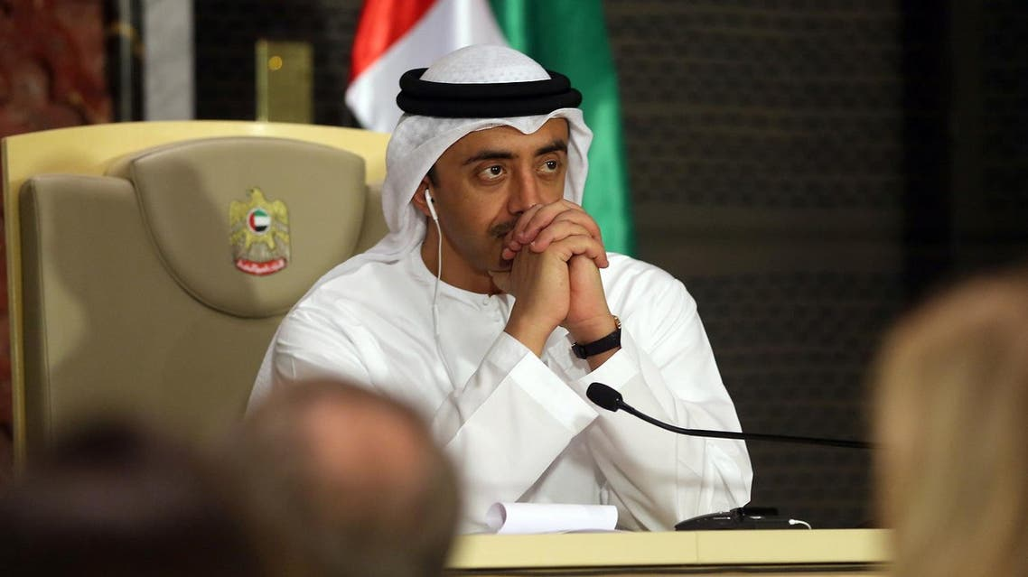 UAE's Minister of Foreign Affairs Abdullah bin Zayed Al-Nahyan looks on during a press conference with his Russia's counterpart during a press conference in Abu Dhabi on August 29, 2017. (AFP)