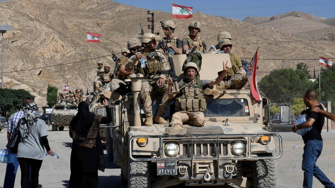 Lebanese army soldiers in Ras Baalbek on Sunday. (Reuters)