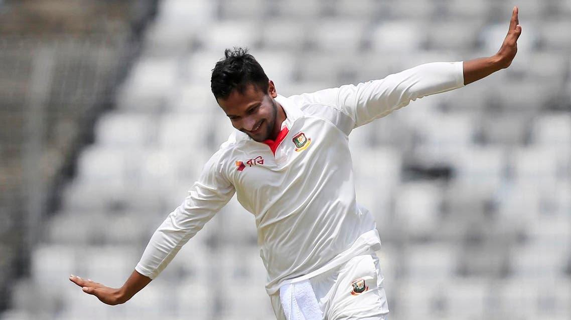 Bangladesh's Sakib Al Hasan celebrates the dismissal of Australia's Glenn Maxwell during the fourth day of their first test cricket match in Dhaka, Bangladesh, on Aug. 30, 2017. (AP)