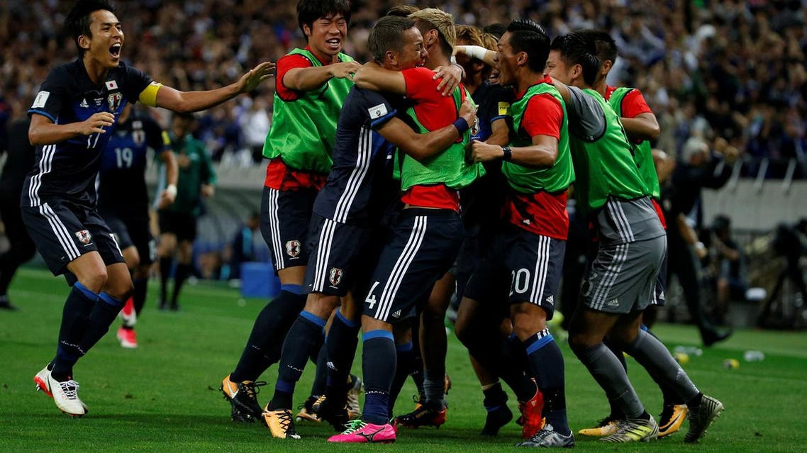 Japan's Ideguchi Yosuke (3rd left) celebrates his goal with teammates the win against Australia in the World Cup 2018 Qualifiers on August 31, 2017. (Reuters)