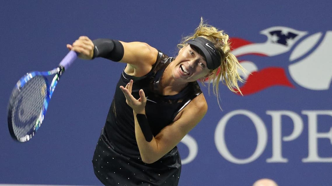 Maria Sharapova of Russia serves against Sofia Kenin of the United States on day five of the US Open tennis tournament. (Geoff Burke-USA TODAY Sports/Reuters)