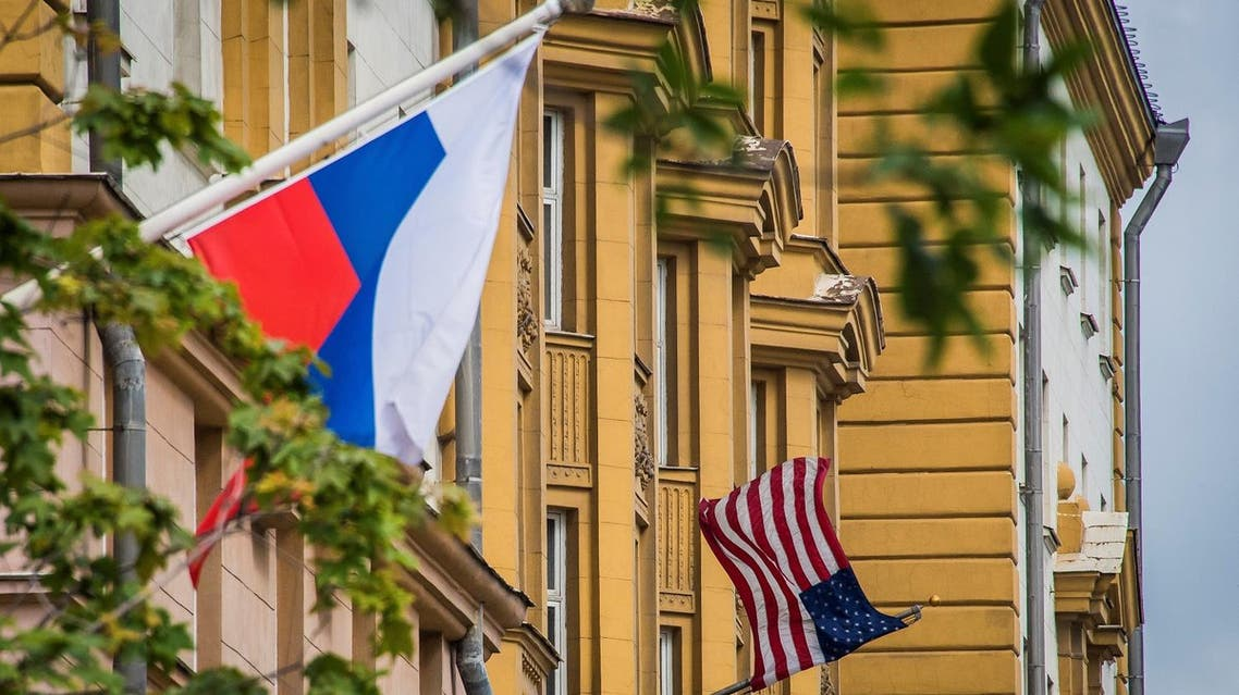 A Russian flag flying next to the US embassy building in Moscow. (AFP)