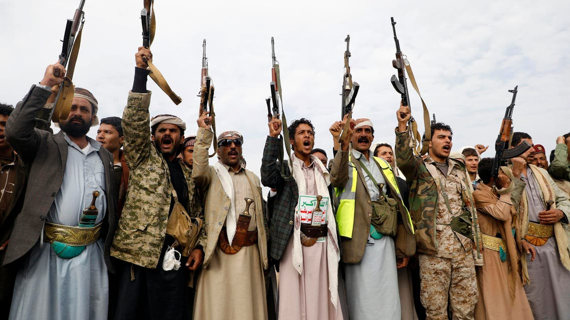 Supporters of the Shiite Huthi movement raise their weapons during a gathering in the capital Sanaa, on August 24, 2017, to mobilize more fighters in the conflict against pro-government forces. (AFP)