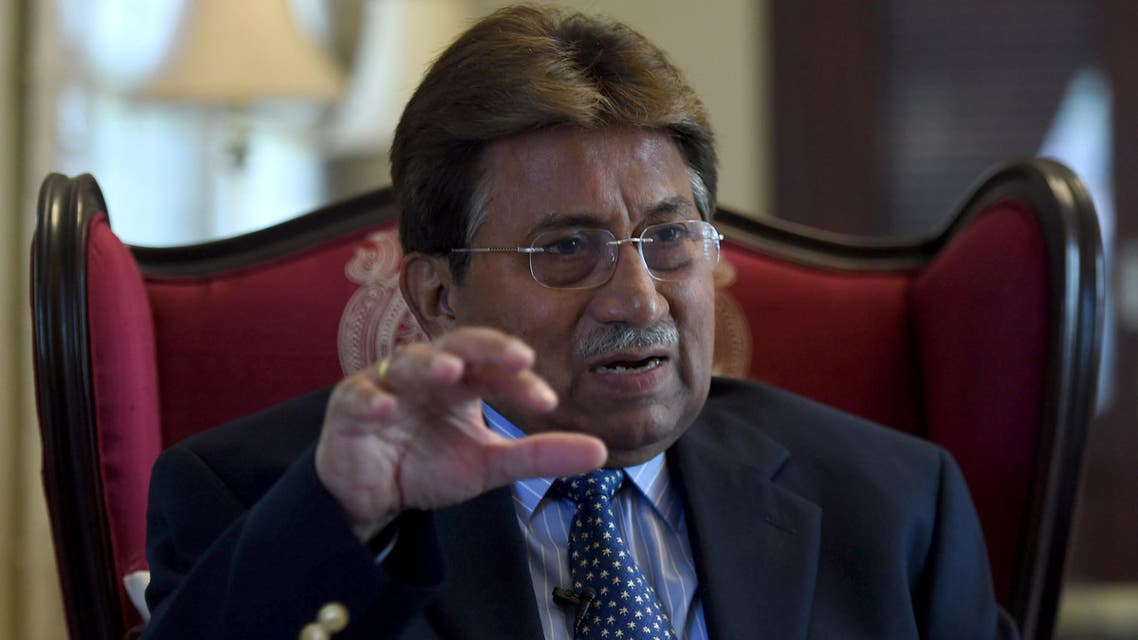 To go with Pakistan-unrest-politics-Afghanistan-India,INTERVIEW by Guillaume LAVALLÉE In this photograph taken November 14, 2014, Pakistan's former military ruler General Pervez Musharraf gestures during an interview with AFP in Karachi. The departure of NATO combat forces fr afp