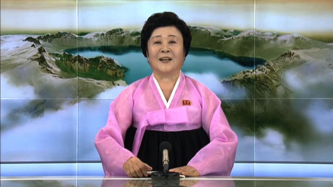 This screen grab image taken from KCTV on September 3, 2017 shows Ri Chun-Hee announcing the country's hydrogen bomb. (AFP)