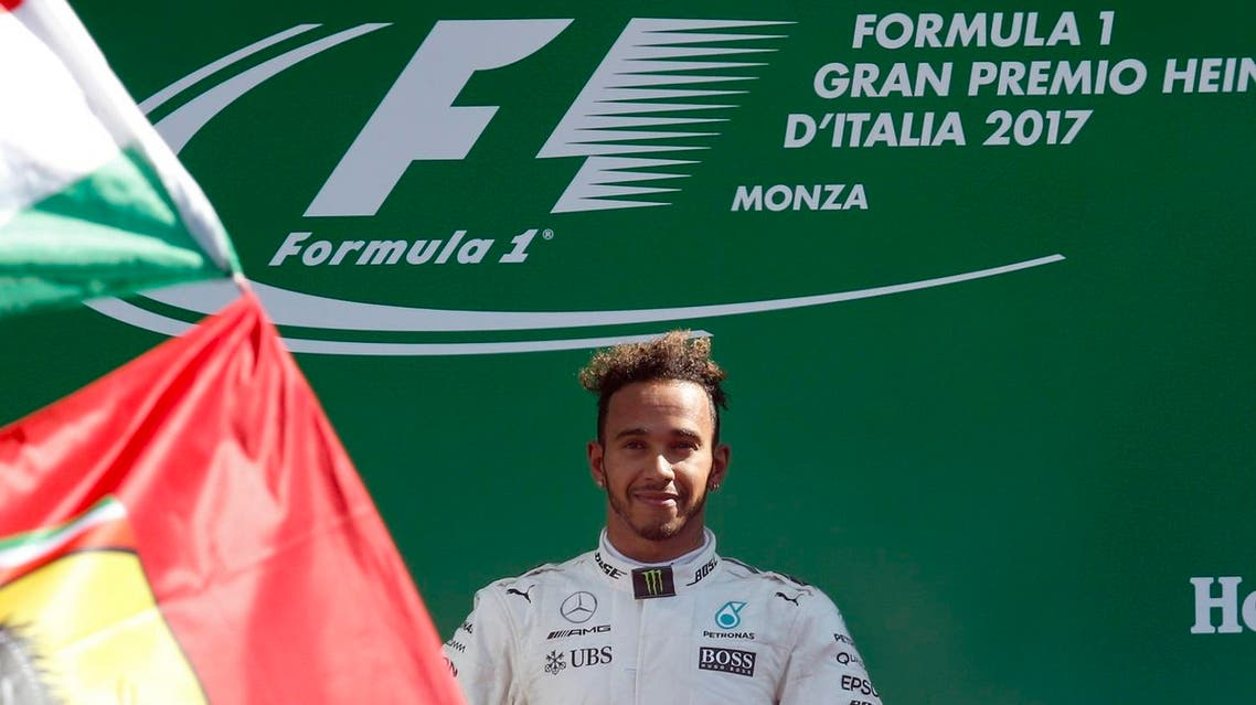 Mercedes driver Lewis Hamilton of Britain celebrates after winning the Italian Formula One Grand Prix  on Sept. 3, 2017. (AP)