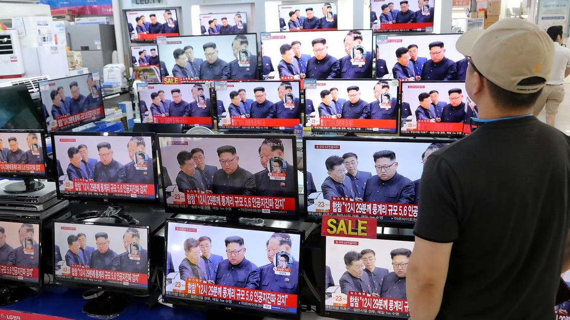 A man watches TV news report about North Korea's nuclear test at an electronic shop in Seoul, South Korea on September 3, 2017. (Reuters)