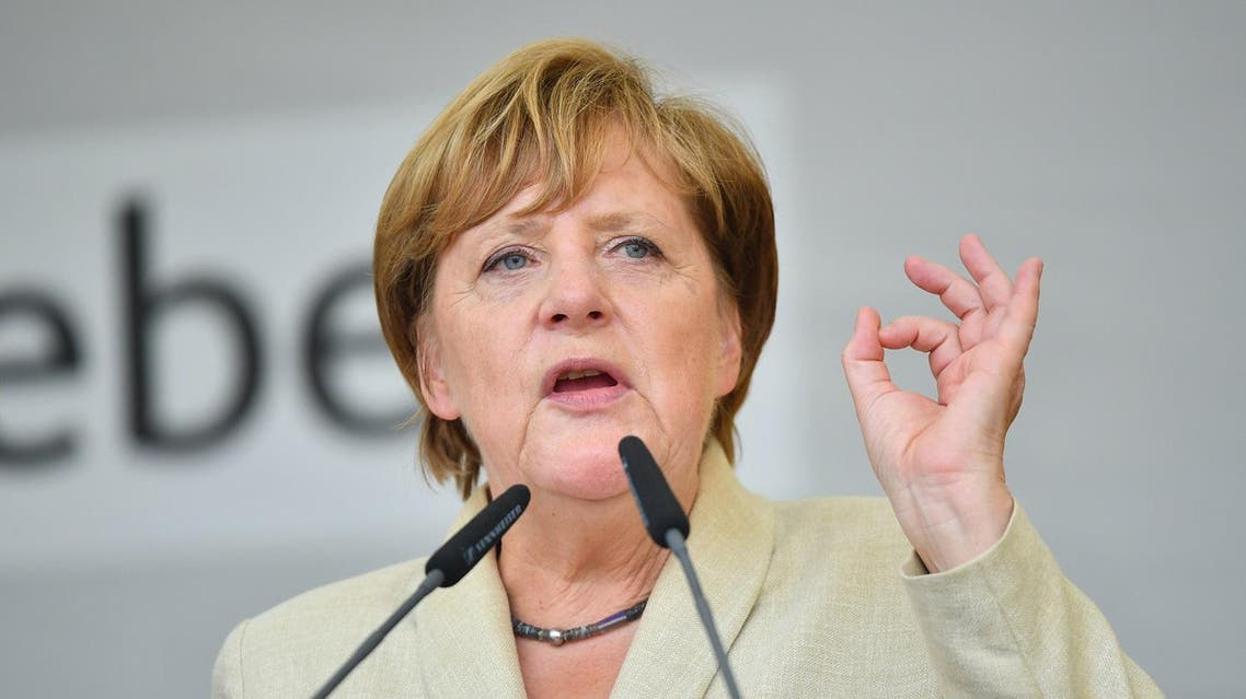 German Chancellor Angela Merkel addresses an election campaign rally of the Christian Democratic Union (CDU) in Ludwigshafen, western Germany on August 30, 2017. AFP