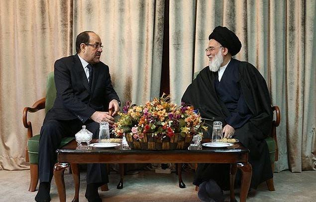 محمود هاشمی شاهرودی رئیس مجمع تشخیص مصلحت نظام ایران و نوری المالکی نخست وزیر سابق عراق
