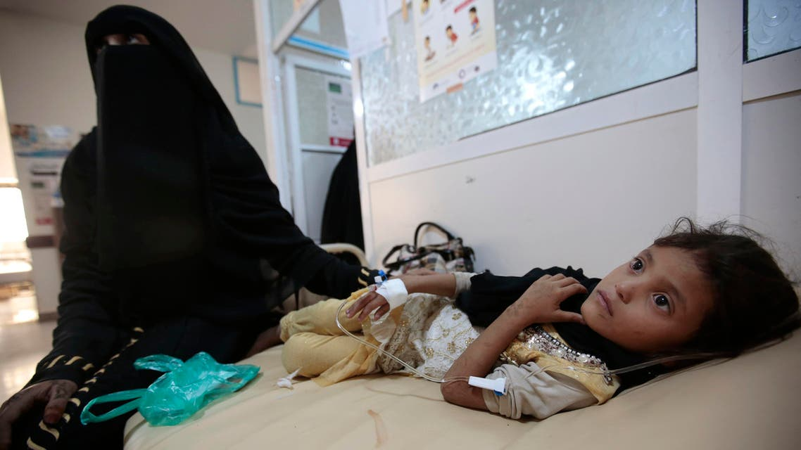 A girl is treated for suspected cholera infection at a hospital in Sanaa, Yemen, Saturday, Jul. 1, 2017. AP