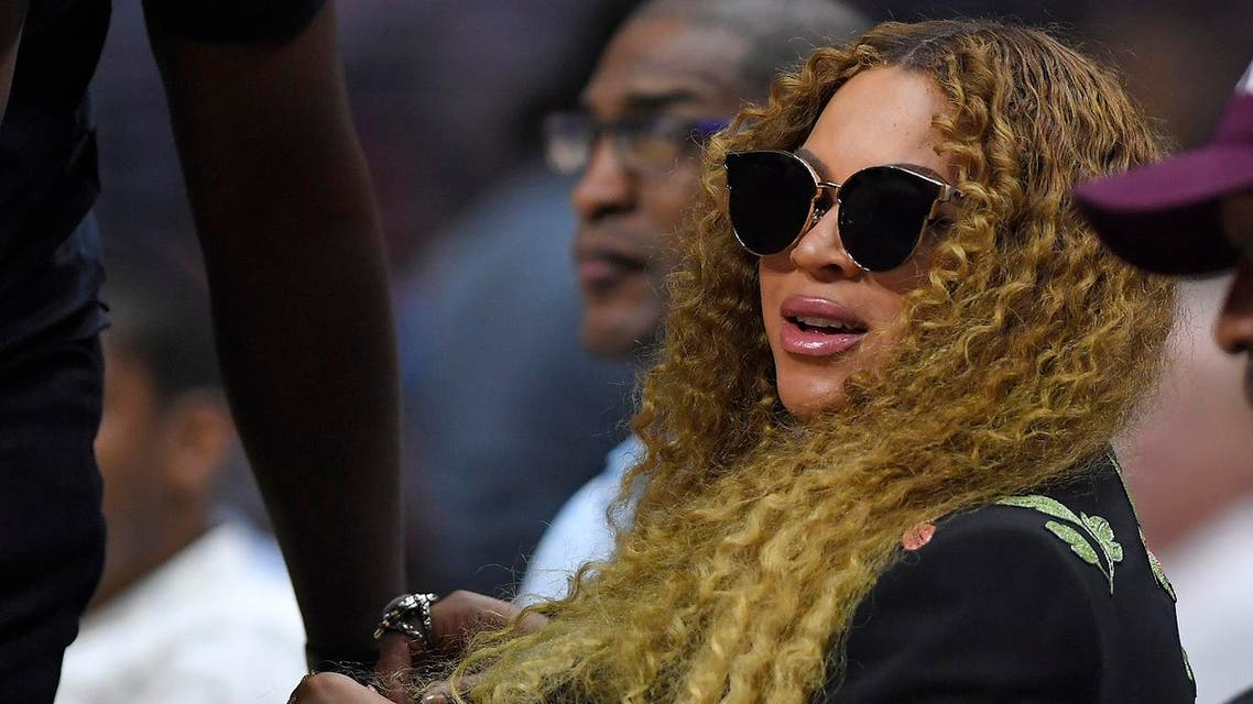 Beyonce watches during the first half in Game 7 of an NBA basketball first-round playoff series between the Los Angeles Clippers and the Utah Jazz, Sunday, April 30, 2017, in Los Angeles. (AP)