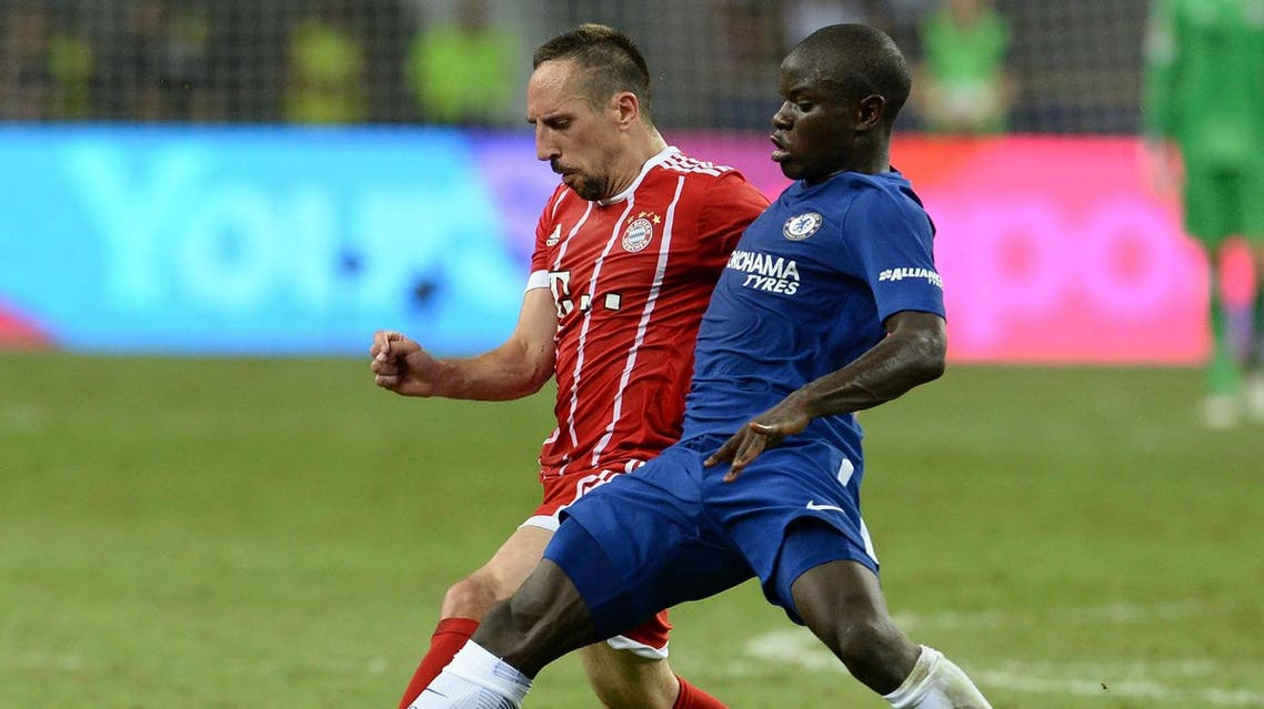 FC Bayern Munich's Franck Ribery (L) competes against Chelsea FC's N'Golo Kante (R) during their International Champions Cup football match in Singapore on July 25, 2017. (AFP)