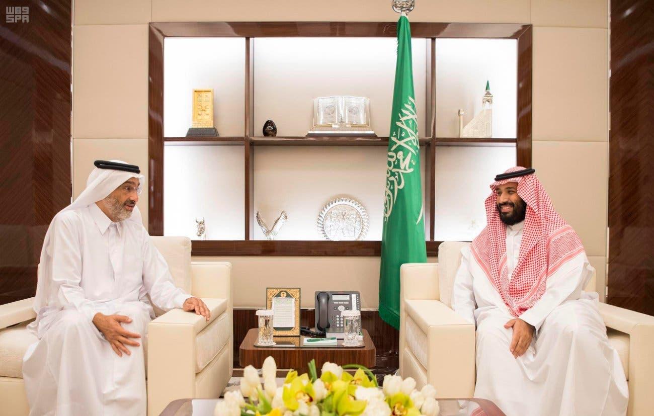 ولي العهد الأمير محمد بن سلمان خلال استقبال الشيخ عبدالله آل ثاني