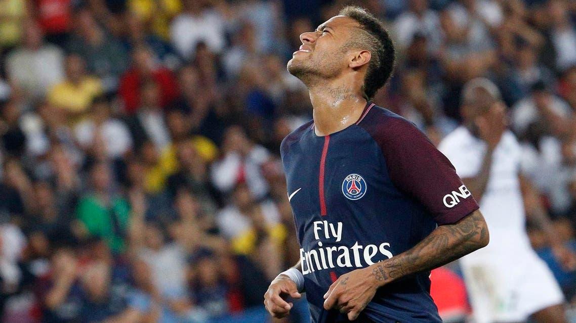 Paris Saint-Germain's Brazilian forward Neymar reacts during the French L1 football match between Paris Saint-Germain (PSG) and Saint-Etienne (ASSE) on August 25, 2017, at the Parc des Princes stadium in Paris. (AFP)