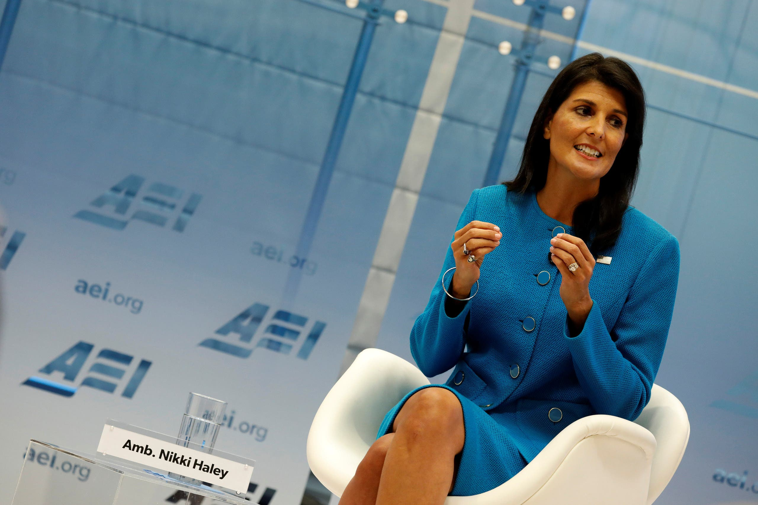 U.S. Ambassador to the United Nations Nikki Haley speaks about the Iran nuclear deal at the American Enterprise Institute in Washington, U.S., September 5, 2017. REUTERS/Aaron P. Bernstein