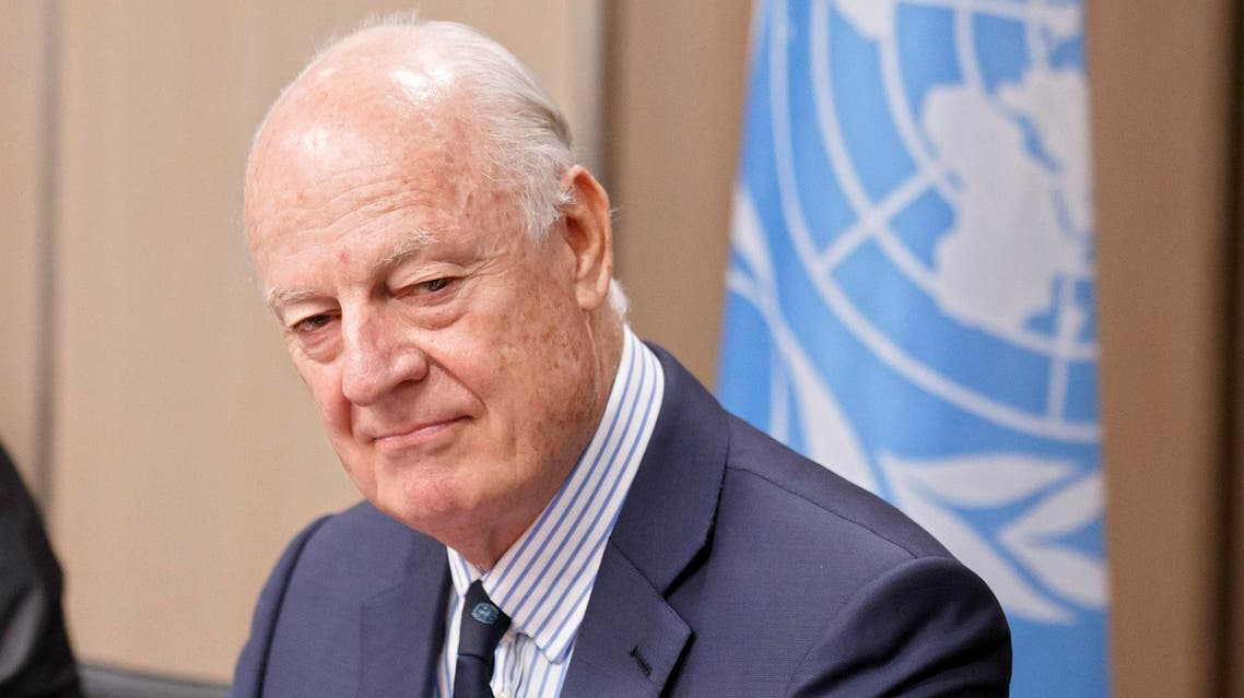 Staffan de Mistura during the Intra Syria talks, at the European headquarters of the United Nations in Geneva, on July 10, 2017. (AFP)