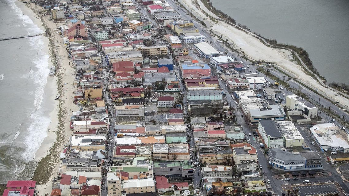 An aerial photograph released by the Dutch department of Defense on September 6, 2017 shows the damage of Hurricane Irma in Philipsburg, on the Dutch Caribbean island of Sint Maarten. (AFP)