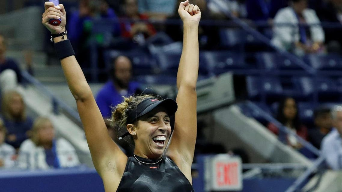 Madison Keys of the United States celebrates her win against CoCo Vandeweghe of the United States. (Reuters)