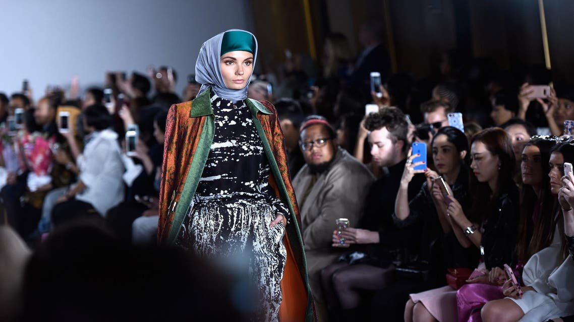 A model walks the runway wearing Dian Pelangi SS18 during the Indonesian Diversity fashion show at New York Fashion Week on September 7, 2017. (AFP)