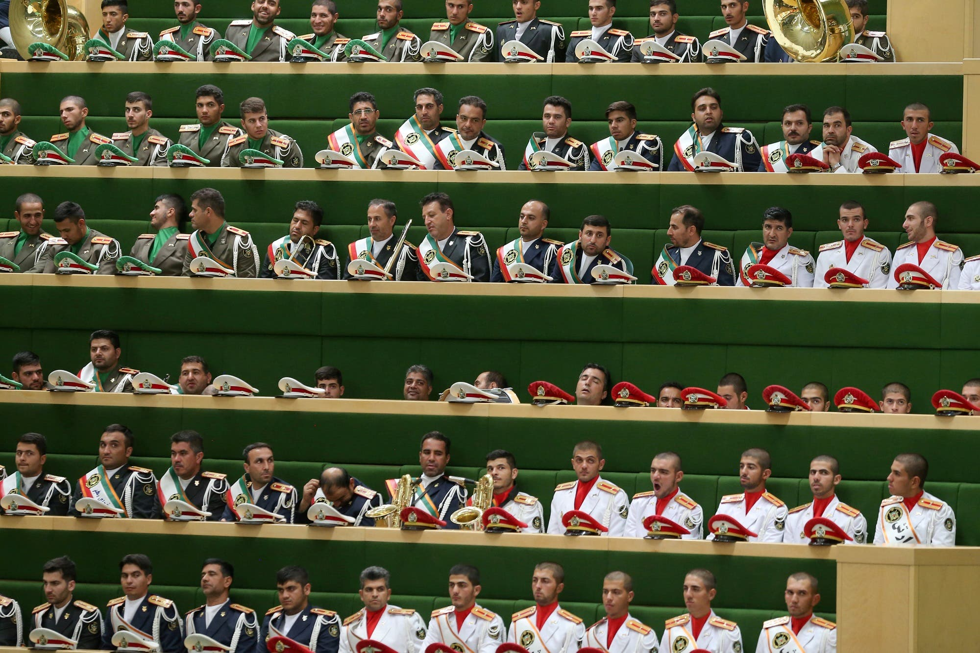 Iranian soldiers attend the swearing-in ceremony for Iranian president Hassan Rouhani for a further term, at the parliament in Tehran, Iran, August 5, 2017. (Reuters)