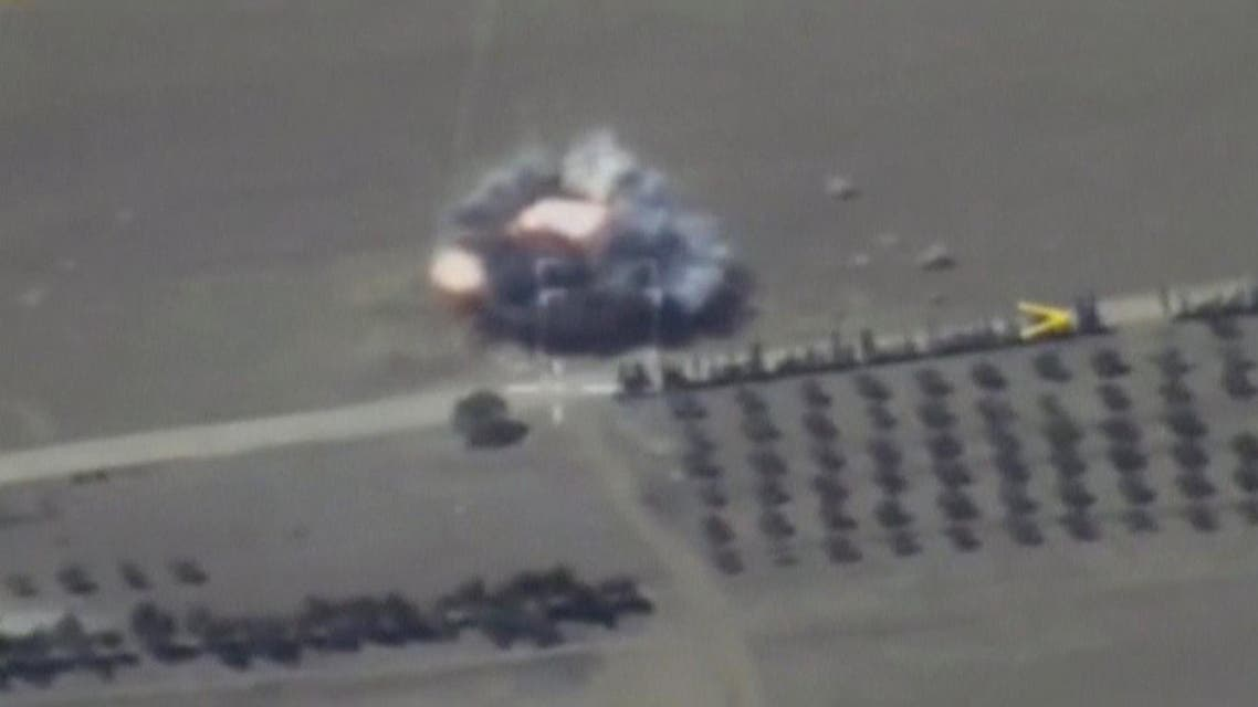 A still image taken from a video footage and released by Russia's Defense Ministry on September 1, 2017, shows missiles hitting an ISIS target, in Deir al-Zor province, Syria. (Reuters)