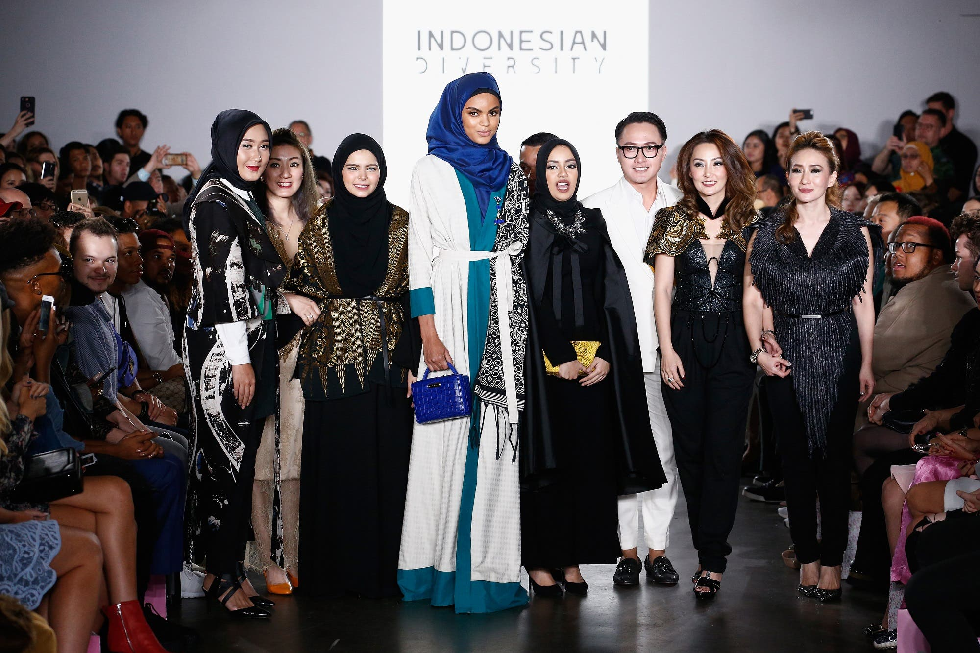 Designers and models walk the runway during the Indonesian Diversity fashion show during New York Fashion Week at The Gallery at The Dream Downtown Hotel on September 7, 2017 in New York City. (AFP)