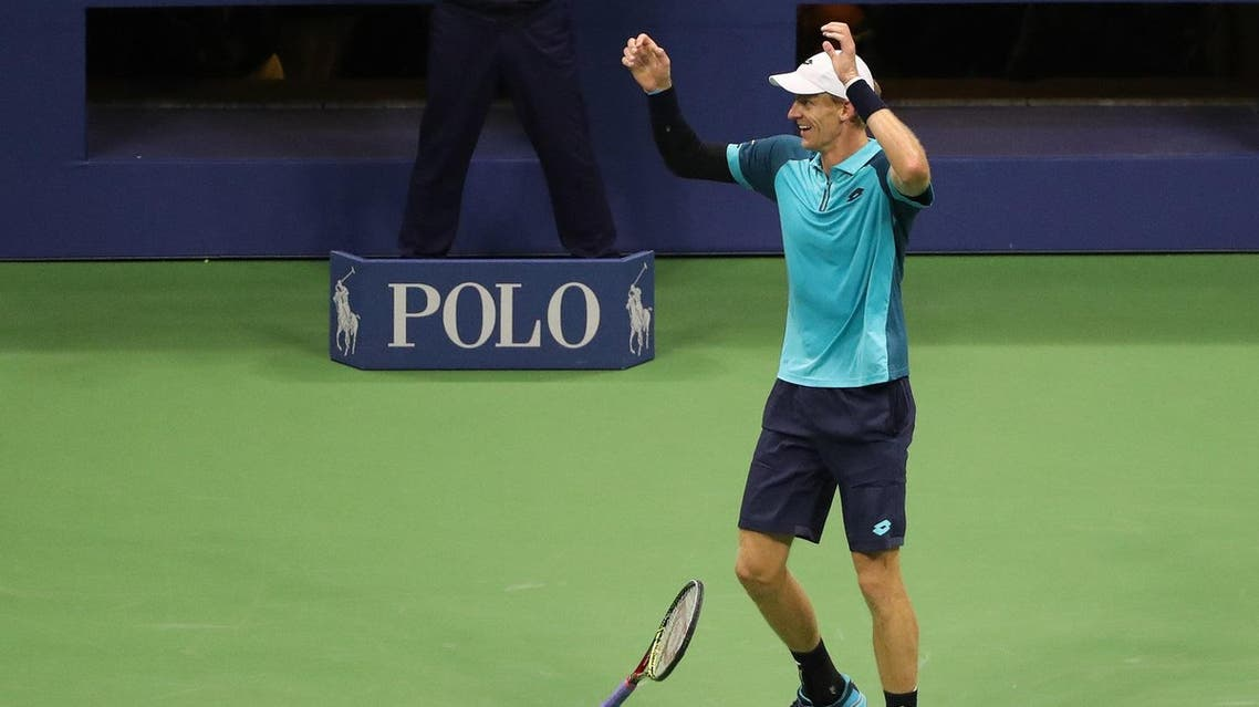 Kevin Anderson celebrates after match point against Pablo Carreno Busta of Spain at the US Open tennis tournament. (Anthony Gruppuso-USA TODAY Sports)