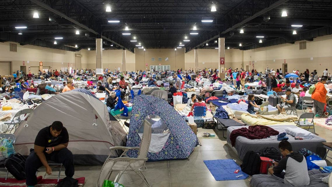 Hundreds of people gather in an emergency shelter in Miami, Florida, September 8, 2017. (AFP)