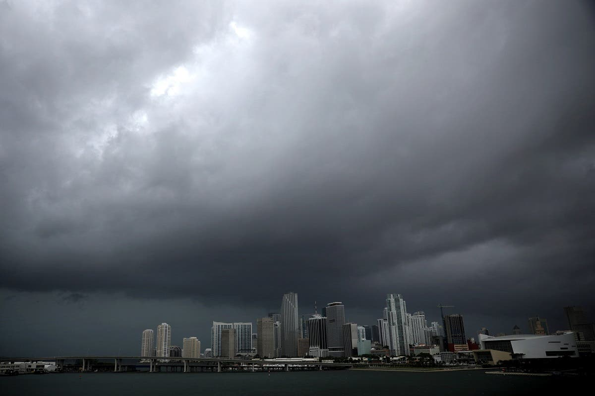 Dark clouds are seen over Miami's skyline prior to the arrival of Hurricane Irma to south Florida. (Reuters)