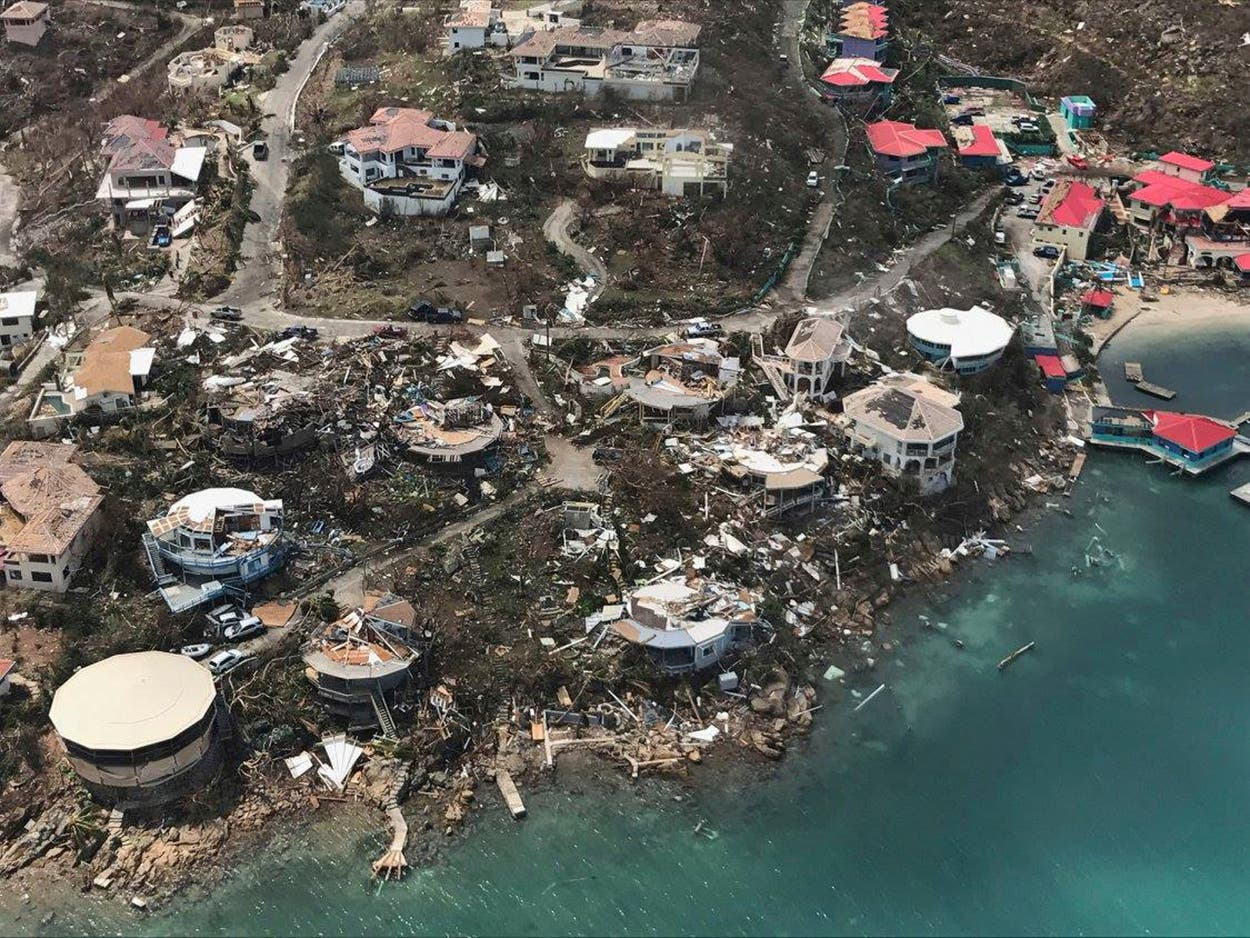 This photo provided on Friday, Sept. 8, 2017, shows storm damage in the aftermath of Hurricane Irma in Virgin Gorda's Leverick Bay in the British Virgin Islands. (AP)