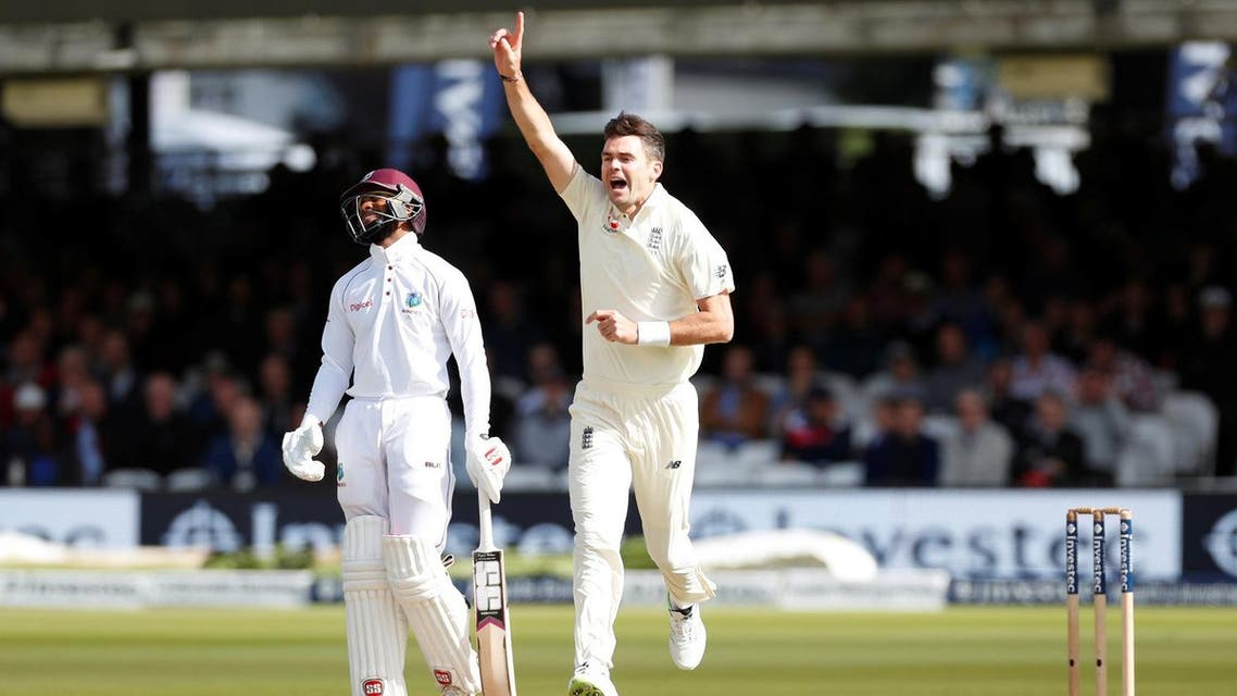 England'sJames Anderson celebrates after taking the wicket of West Indies' Roston Chase (Reuters)