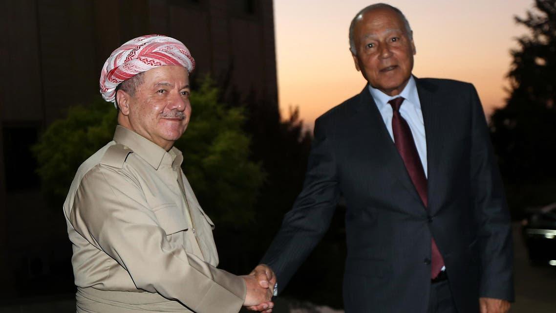 Iraq's Kurdistan region president Massud Barzani (L) receives Secretary-General of the Arab League Ahmed Abul Gheit on September 9, 2017 in Arbil, the capital of the Kurdish autonomous region in northern Iraq.  SAFIN HAMED / AFP