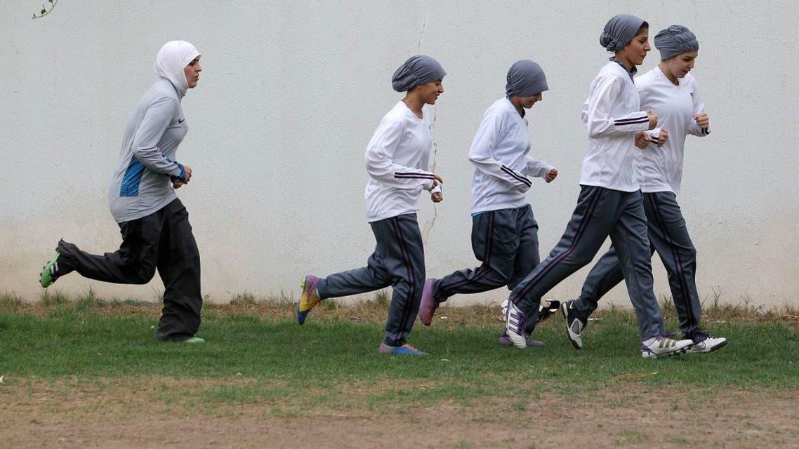 In this May 21, 2012 file photo, members of a Saudi female soccer team practice at a secret location in Riyadh, Saudi Arabia. (AP)