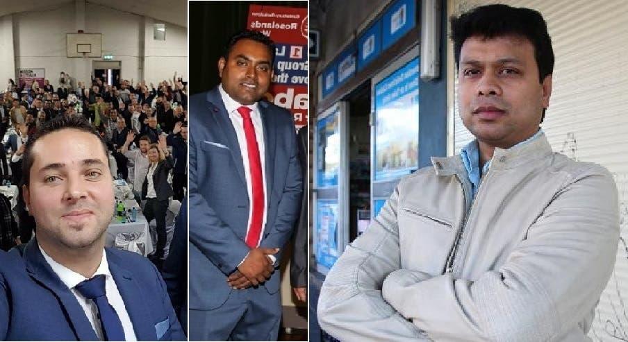 من اليمين، محمد زمان ومحمد هدى، وهما من بنغلادش أصلا، كما واللبناني الأصل بلال الحايك، فازوا أيضا مع ناديا صالح بعضوية مجلس أكبر بلدية لجهة عدد السكان بأستراليا