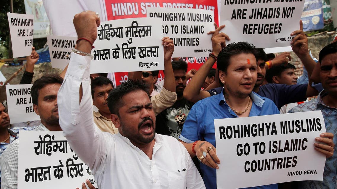 Members of Hindu Sena, a right wing Hindu group, shout slogans during a protest demanding deportation of Rohingya refugees from India, in New Delhi, on September 11, 2017. (Reuters)