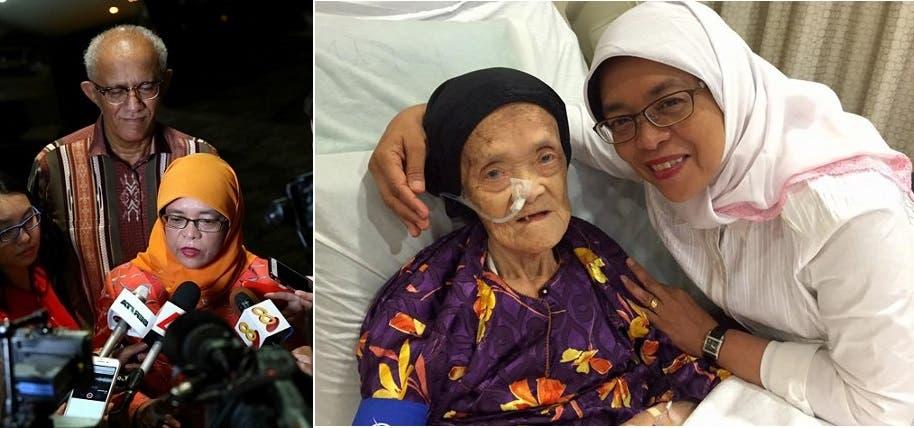 مع والدتها البالغة 92 سنة، وخلفها زوجها في الصورة الثانية