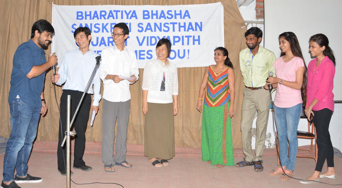 Chinese students learn Hindi at Gujarat Vidyapith. (Supplied)