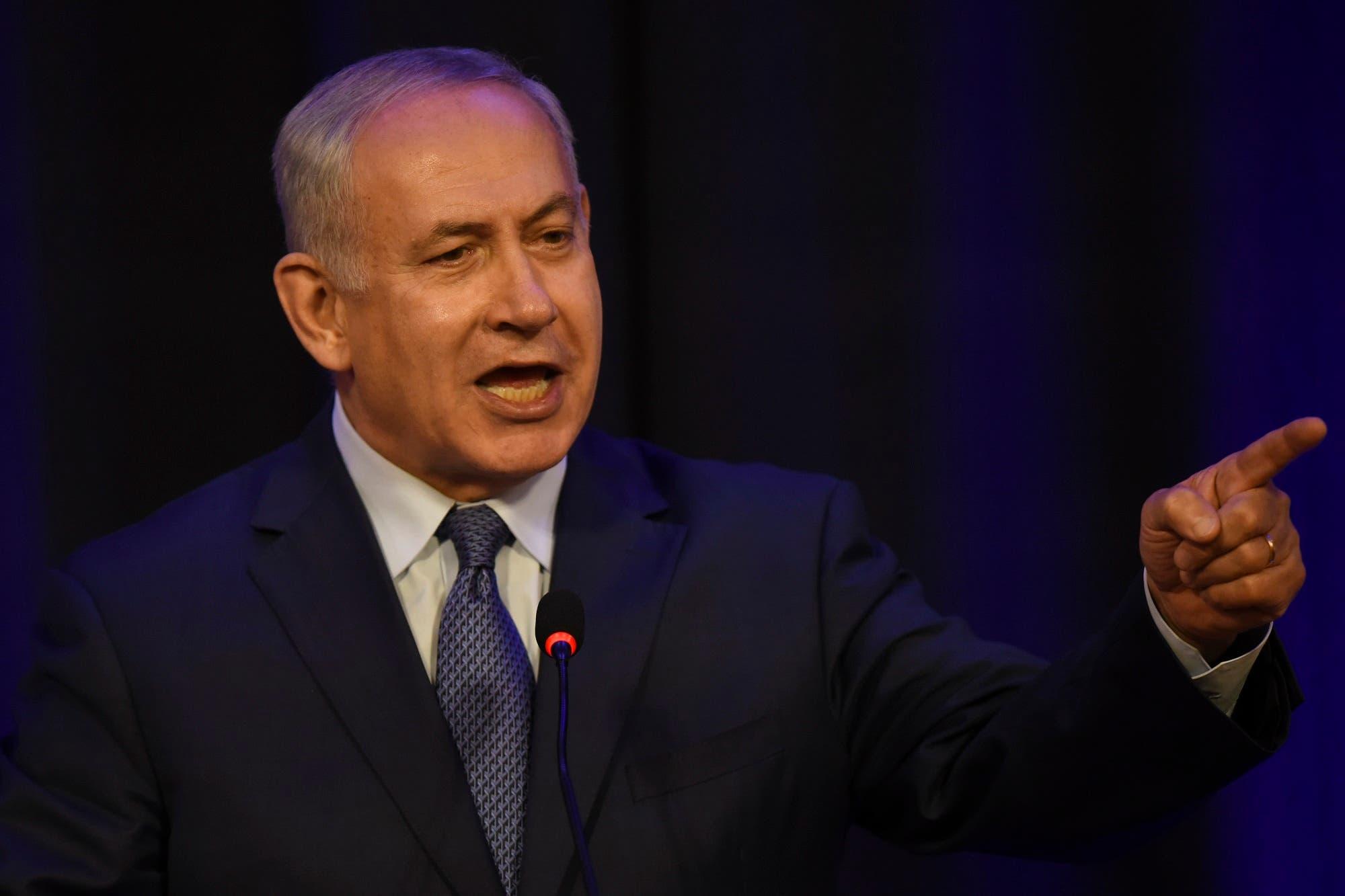 Israeli Prime Minister Benjamin Netanyahu speaks a meeting with businessmen in Buenos Aires, on September 12, 2017. (AFP)