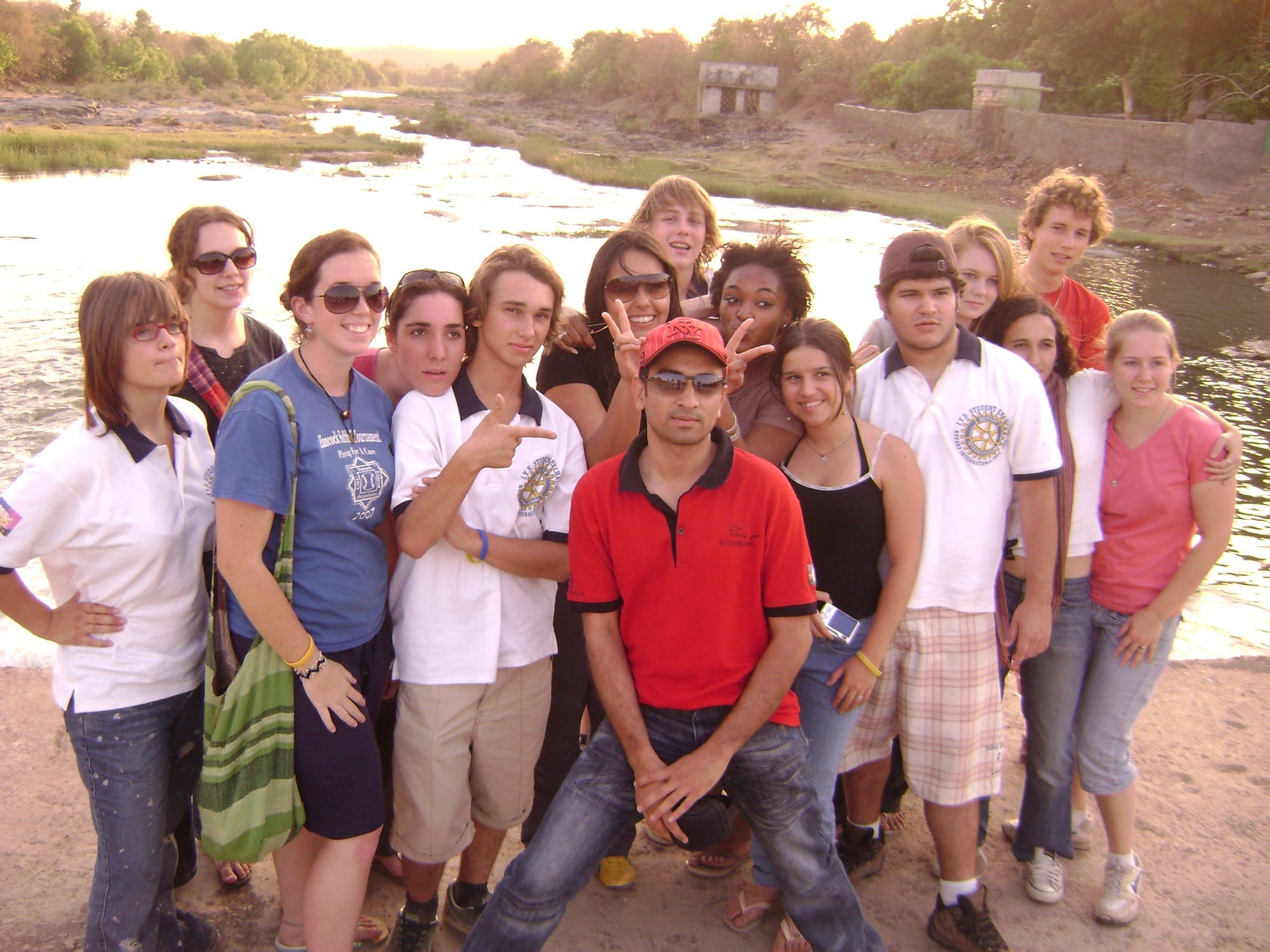 Aliasagar Tinwala (in red T-shirt) with a group of youngsters from the US and the UK at the Gir lion sanctuary. (Supplied)