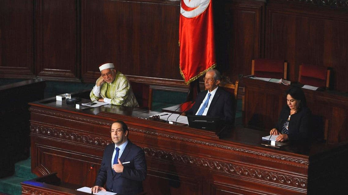 Tunisian Prime Minister Youssef Chahed adresses the members of the Parliament during a parliamentary session in Tunis, Tunisia, on Sept. 11, 2017. (AP)