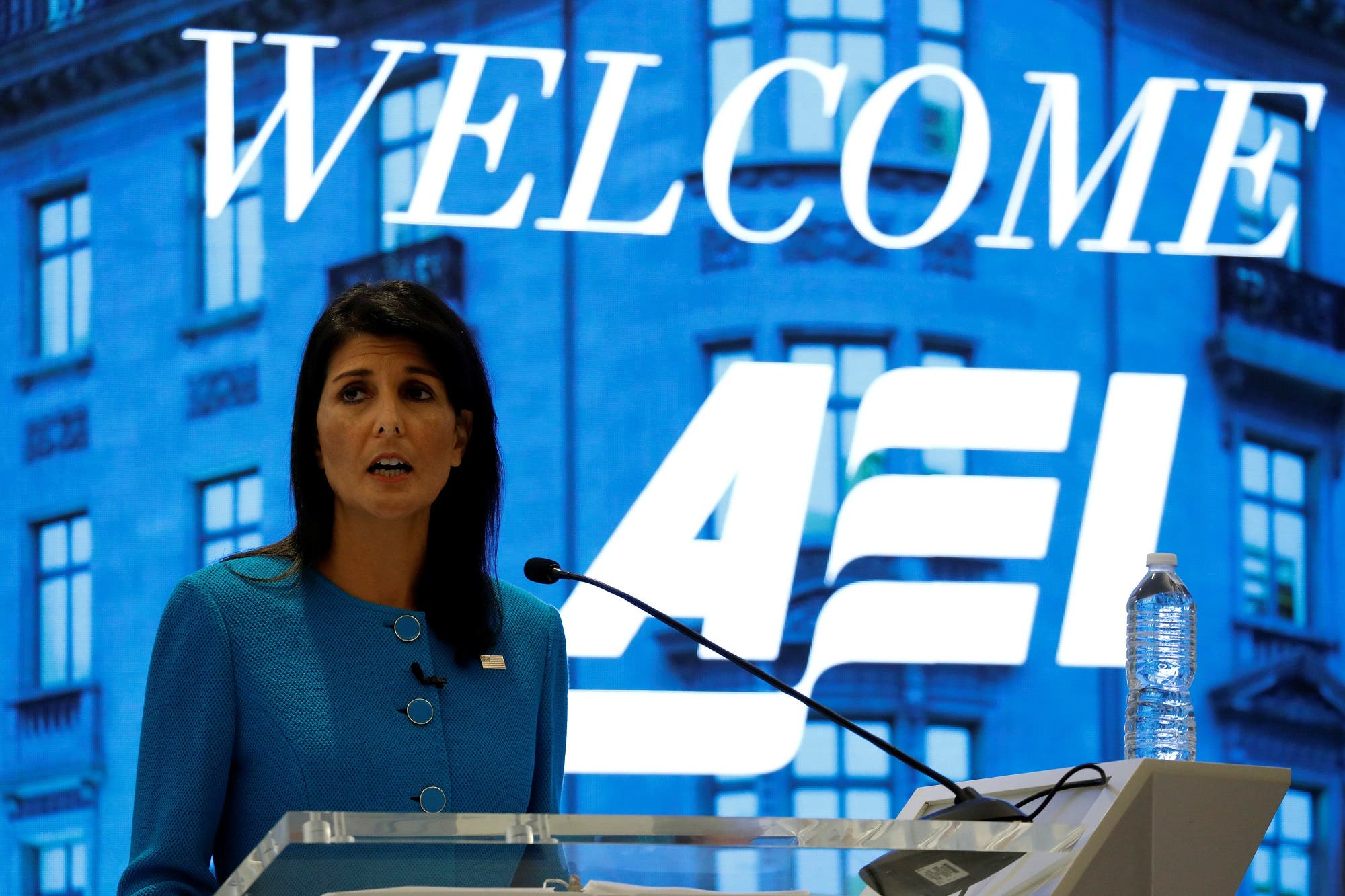 US Ambassador to the United Nations Nikki Haley speaks about the Iran nuclear deal at the American Enterprise Institute in Washington, on September 5, 2017. (Reuters)