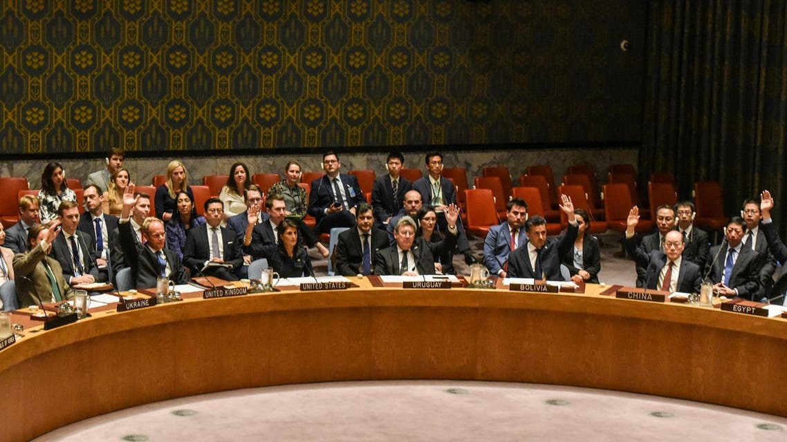 Ambassadors to the UN vote during a Security Council meeting on North Korea in New York City, US, September 11, 2017. (Reuters)
