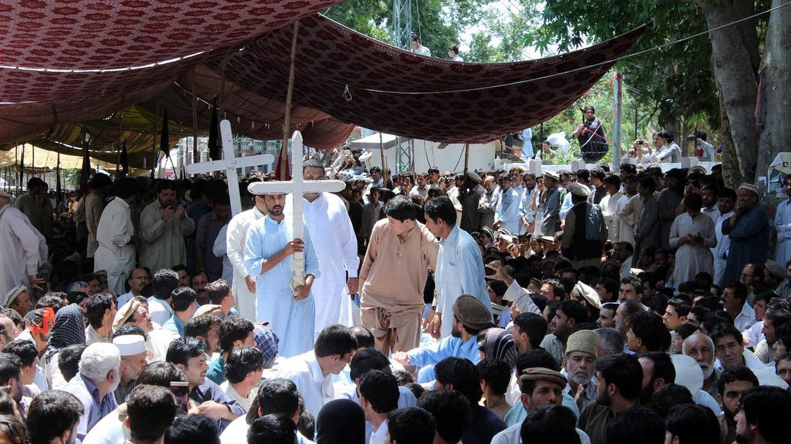 Christian protesters join others already there to demand better security after twin bombings in a market in Parachinar, Pakistan June 29, 2017. (Reuters)