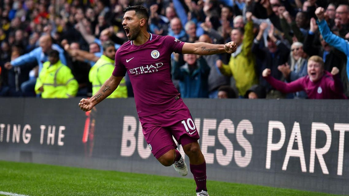Manchester City's Argentinian striker Sergio Aguero celebrates scoring his third and the team's fifth goal during the English Premier League football match between Watford and Manchester City at Vicarage Road Stadium in Watford, north of London on September 16, 2017. (AFP)