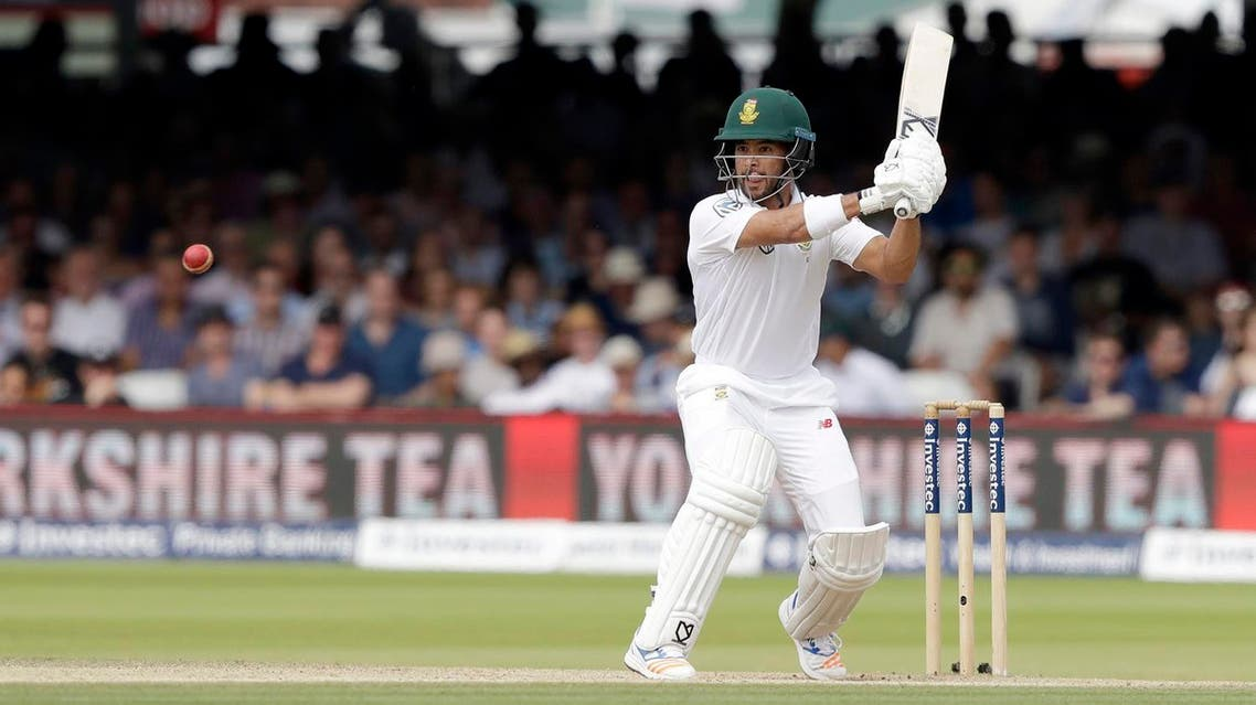 South Africa's JP Duminy hits a shot that was caught out by England's Moeen Ali during the first test between England and South Africa at Lord's cricket ground in London, on July 9, 2017. (AP)