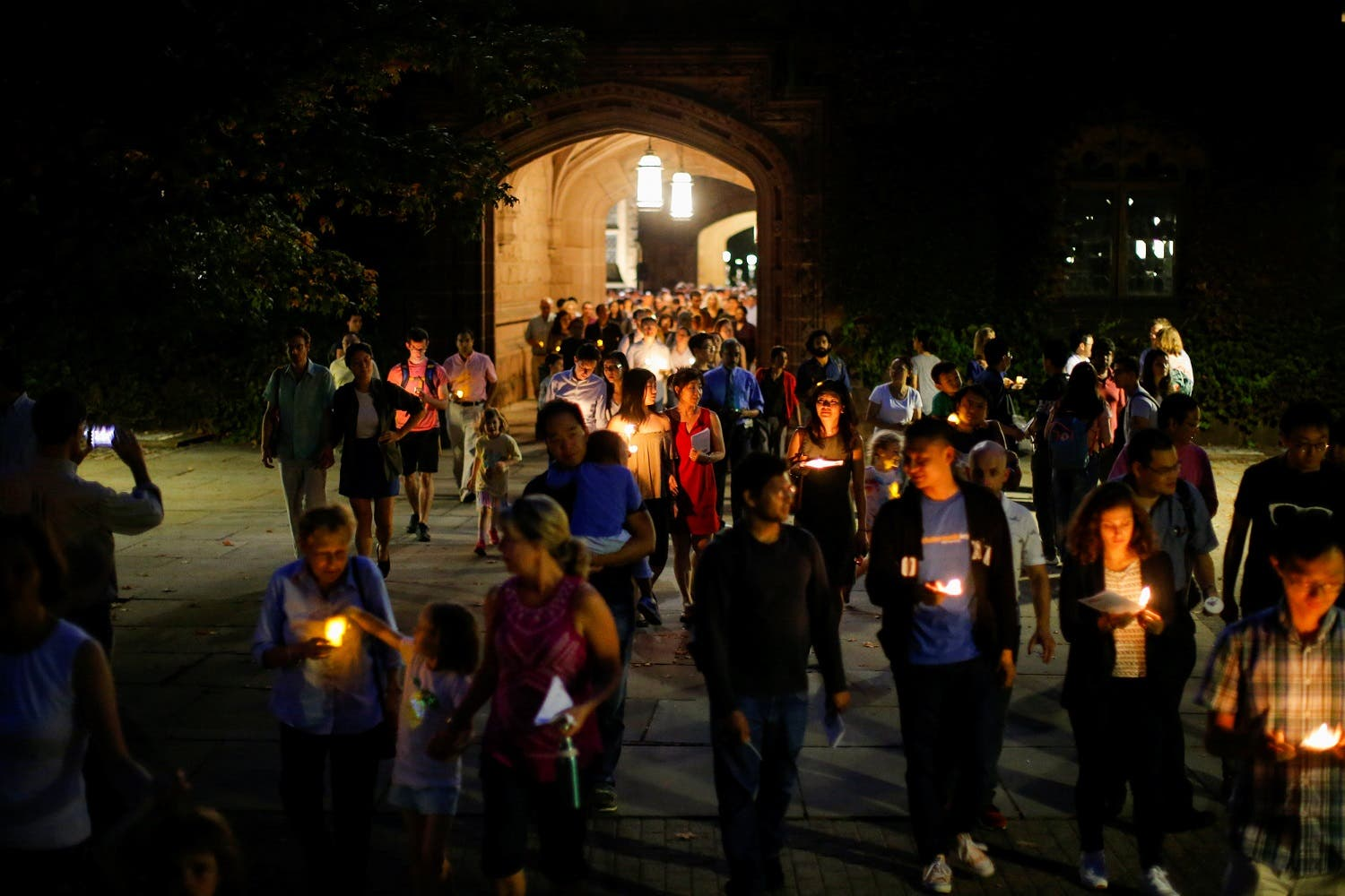 People attend a vigil for Xiyue Wang at Princeton University on September 15, 2017. (Reuters)